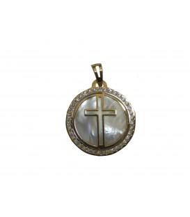 Medalha redonda com cruz - Ouro